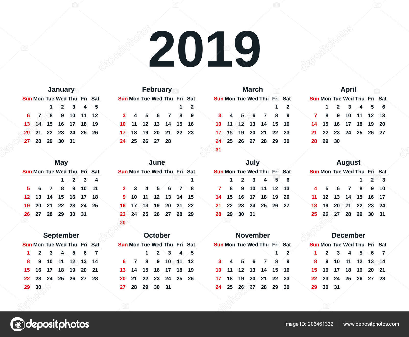 calendar 2019 in simple style week starts sunday vector stationery 2019 year template in minimal design yearly calendar organizer for weeks