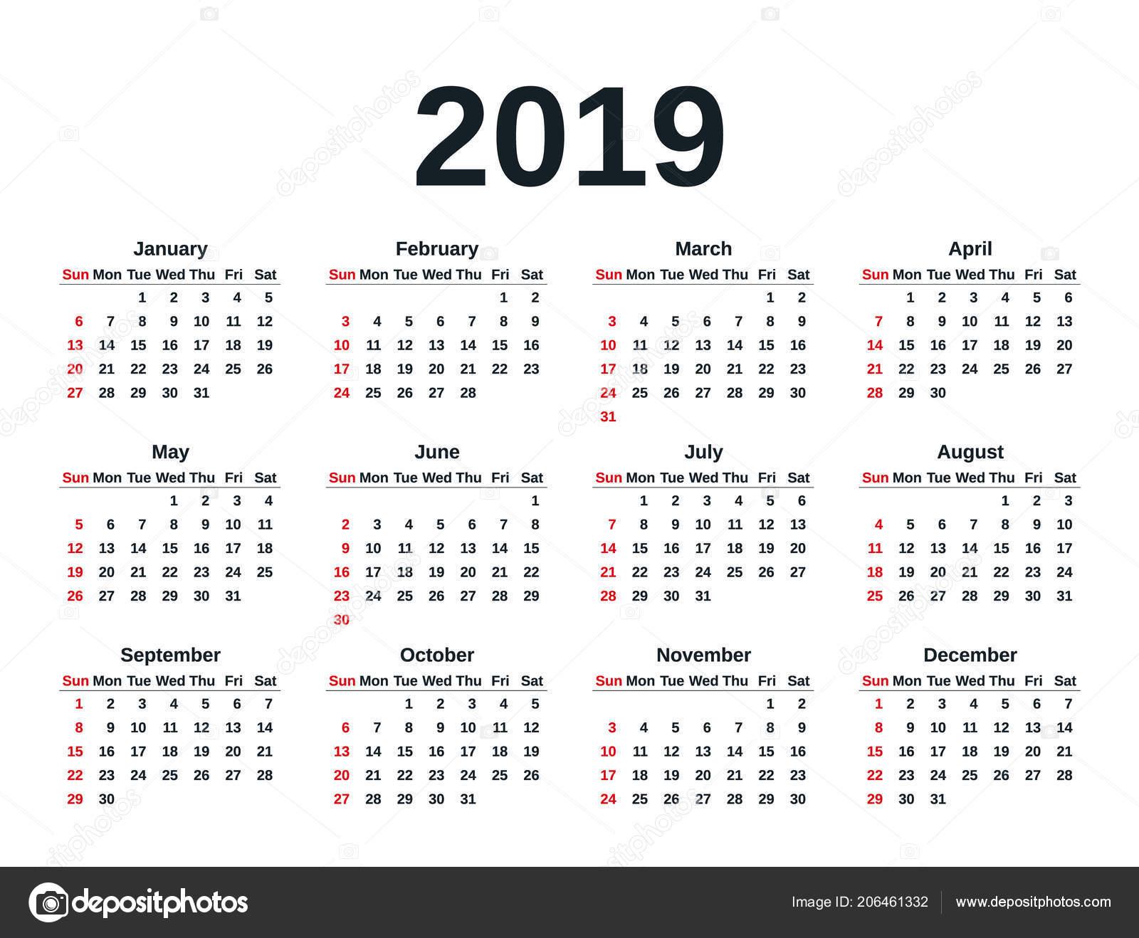 Calendario 2019 Con Numero Week.Calendar 2019 Simple Style Week Starts Sunday Vector