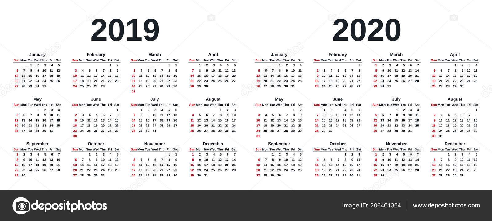 Settimane Calendario 2020.2019 2020 Calendario Grafica Vettoriale Settimana Inizia