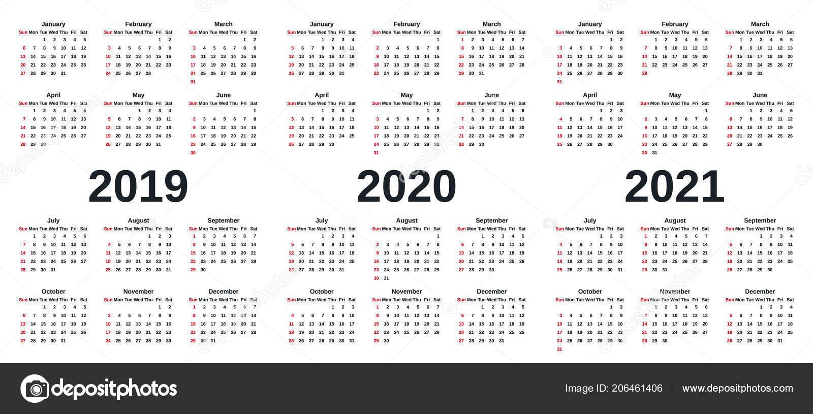 2019 2020 2021 Kalendarza Grafika Wektorowa Tydzień Rozpoczyna Się