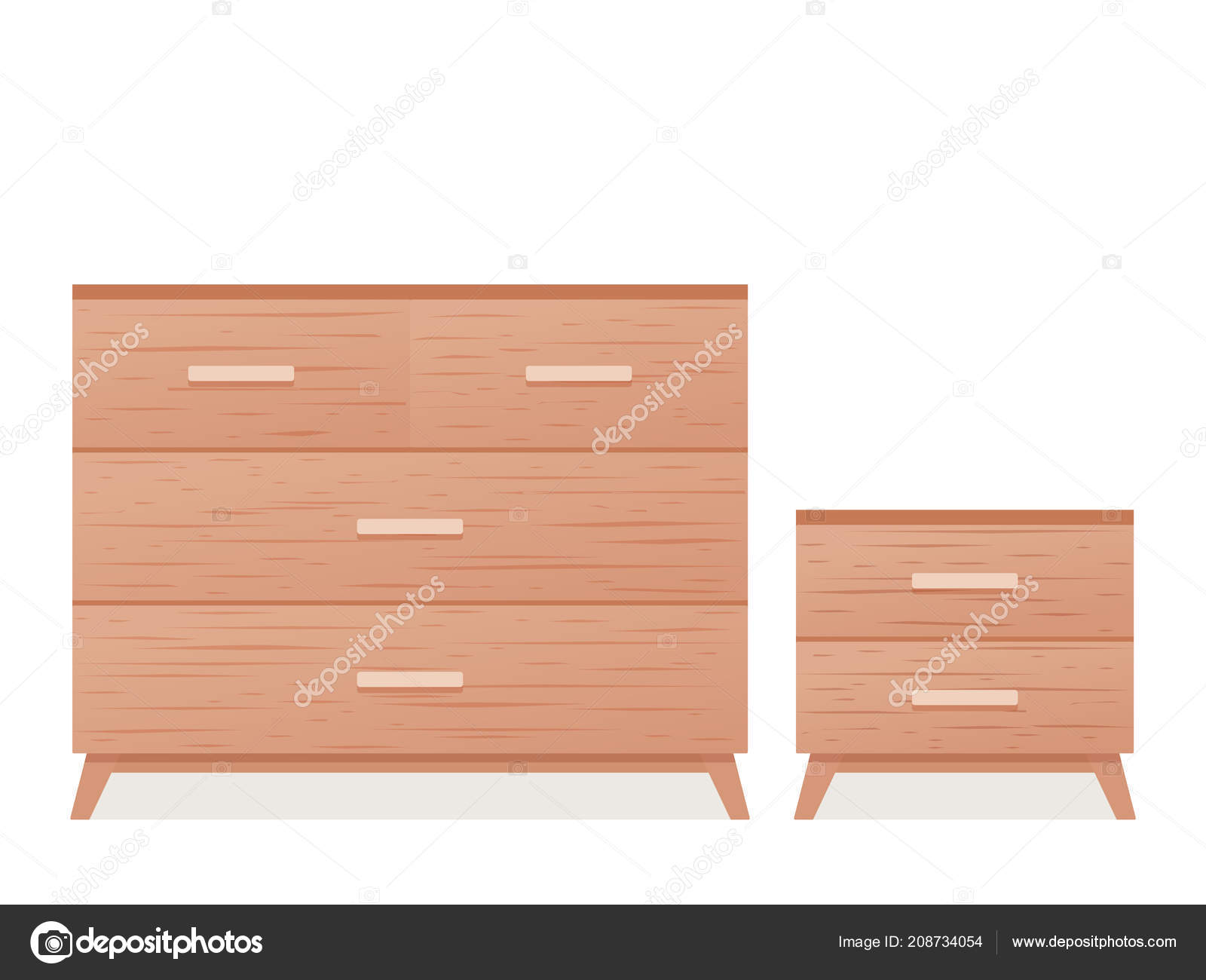 Tiroirs Commode Table Chevet Vector Icone Bois Texture
