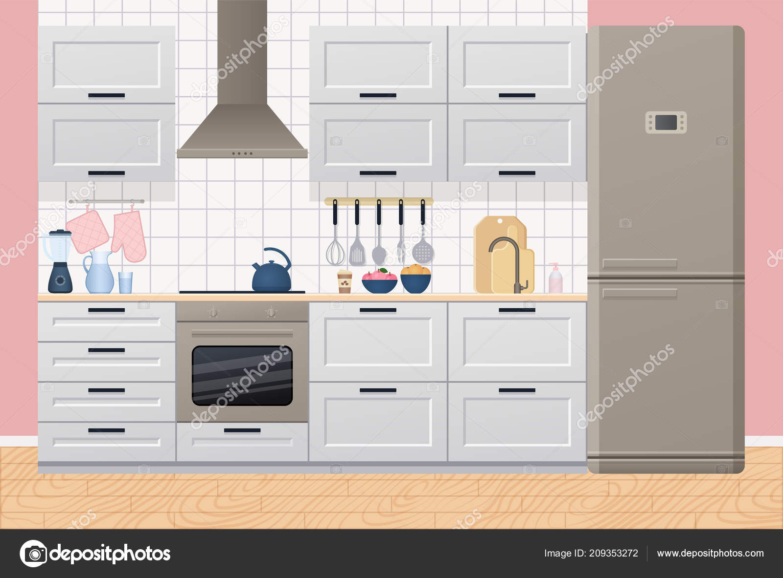 Interiore Della Cucina Con Elettrodomestici Mobili Vettore Sala Con ...