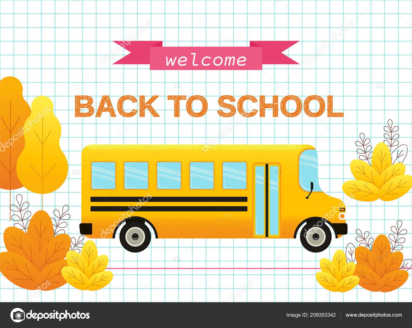 welcome back school banner vector poster text yellow school bus