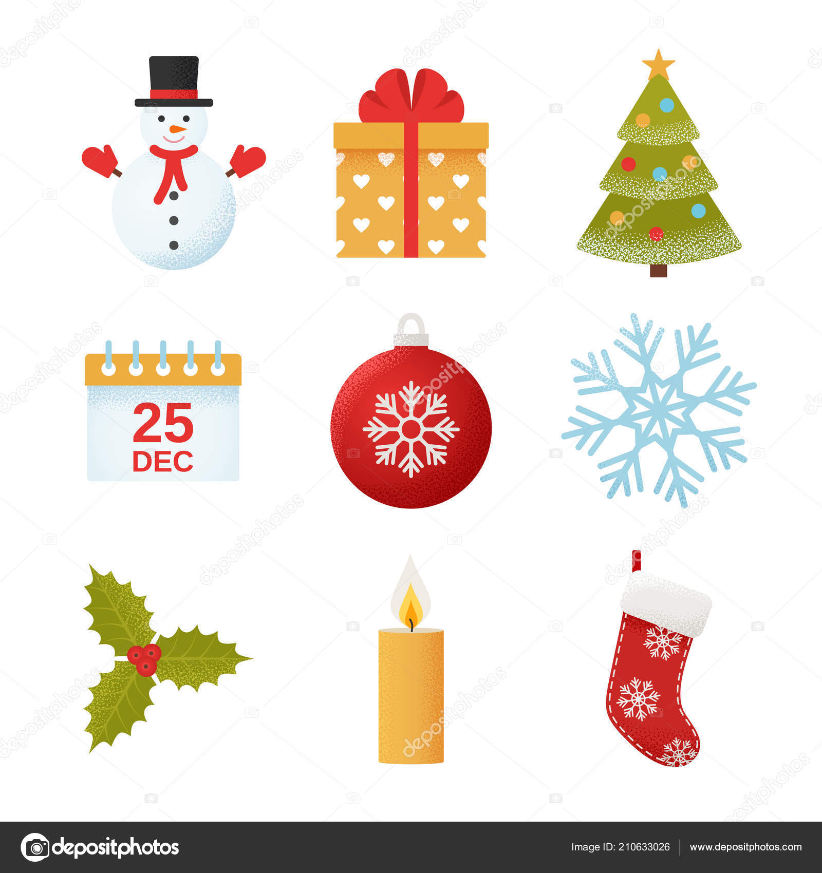 Christmas Icon Vector Winter Icons Set Flat Design Isolated White ...