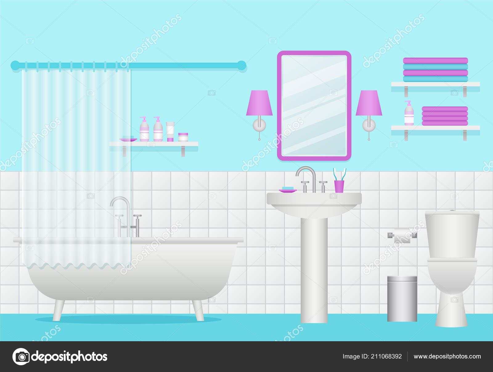 Bathroom Interior Vector Toilet Furniture Plumbing Flat Design Cartoon Room Vector Image By Maradaisy Vector Stock 211068392