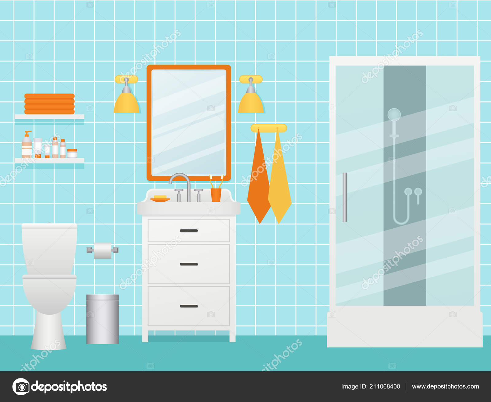 Dessin Salle De Bain bathroom interior vector cartoon room shower cabin sink