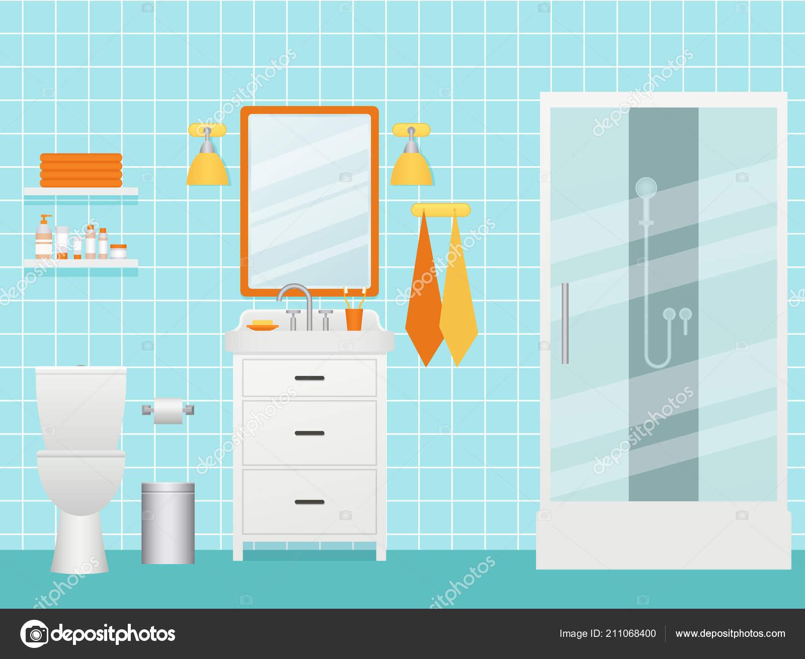 Bathroom Interior Vector Cartoon Room Shower Cabin Sink Shelves