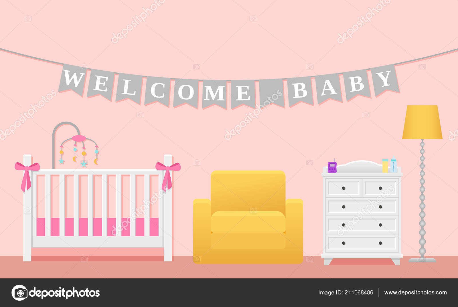Baby Room Interior Vector Kids Childrens Bedroom Baby Girl Pink ...