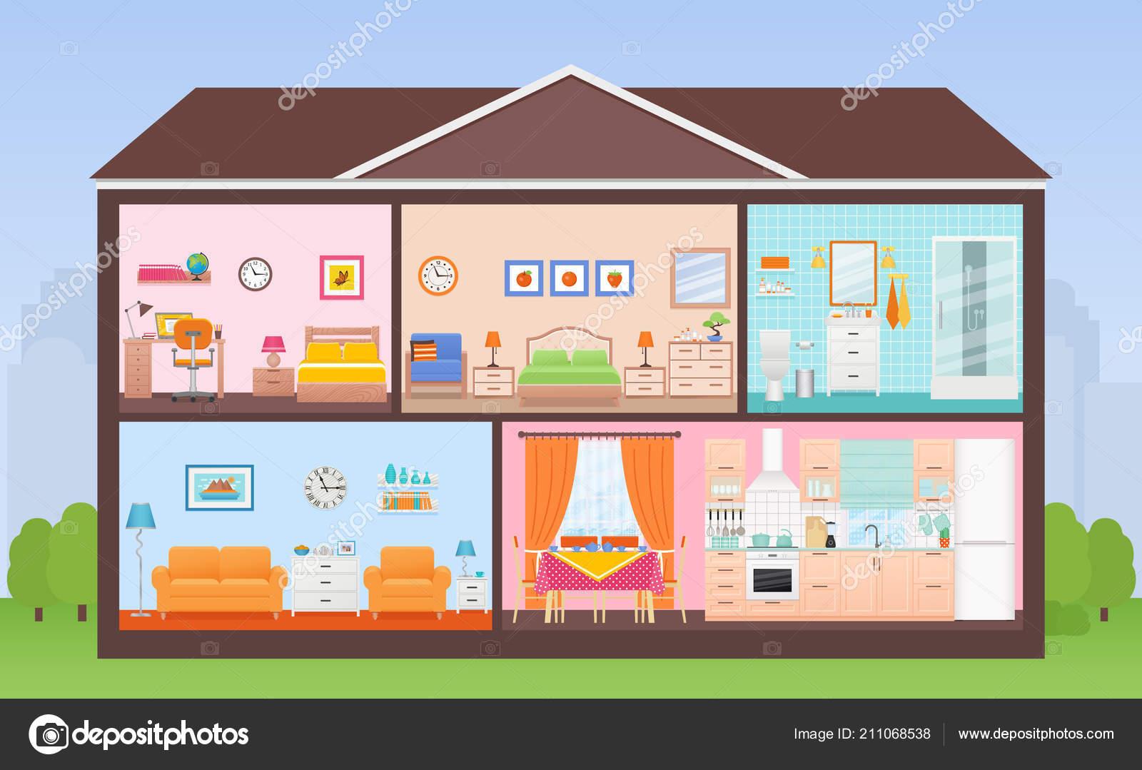 c4156995b9ea Εσωτερικό του σπιτιού. Διάνυσμα. Σπίτι στην περικοπή. Διατομή με δωμάτια  υπνοδωμάτιο