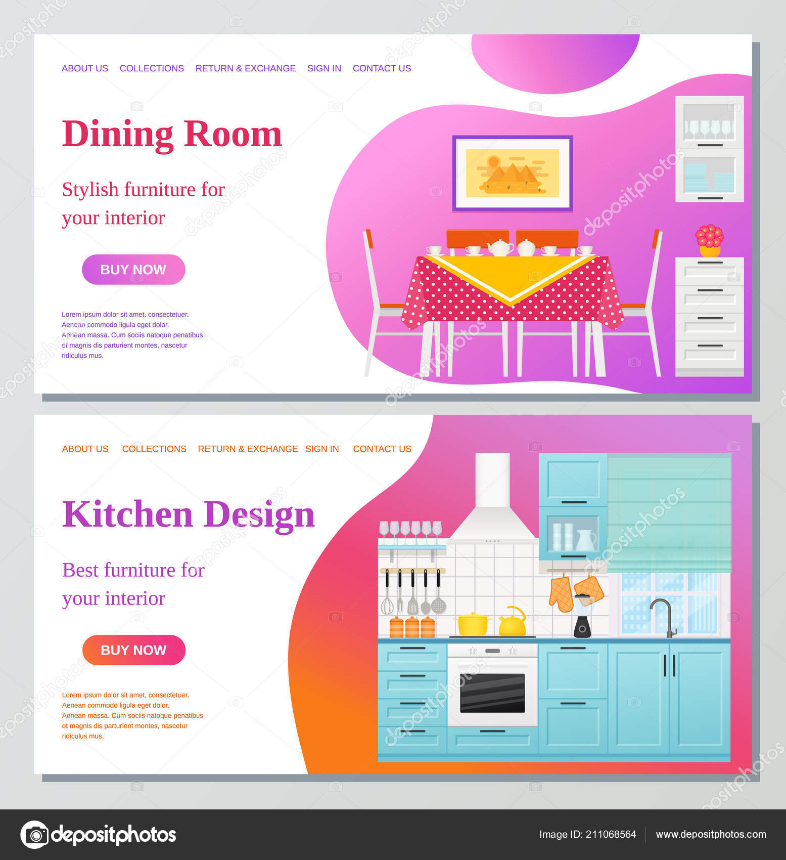 Kitchen Dining Room Web Page Design Templates Vector Furniture Interior Stock