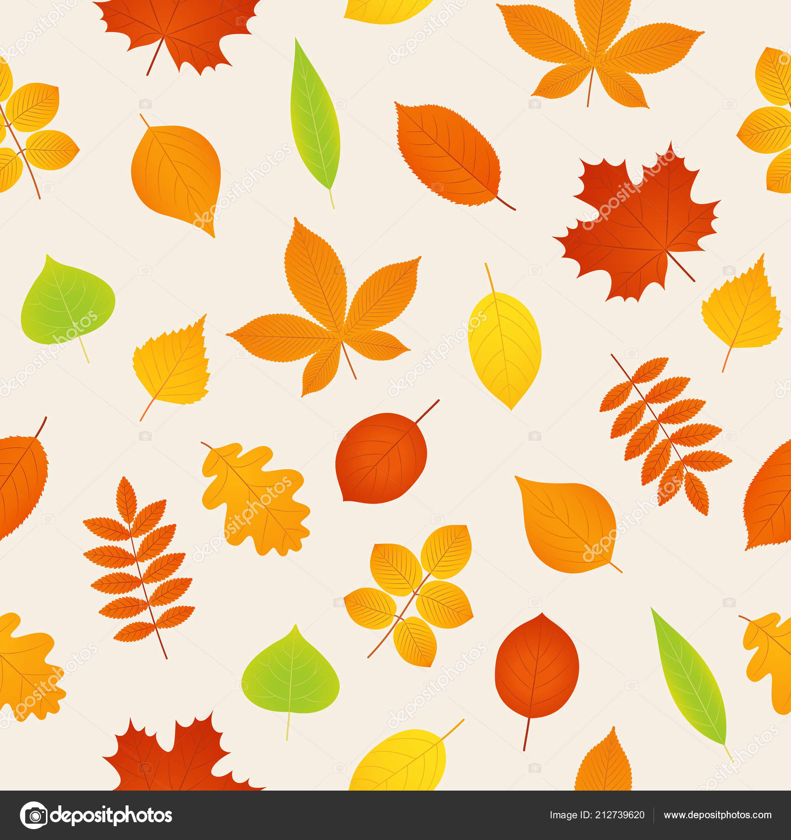 Autumn Pattern Vector Seamless Background Fall Leaves Season