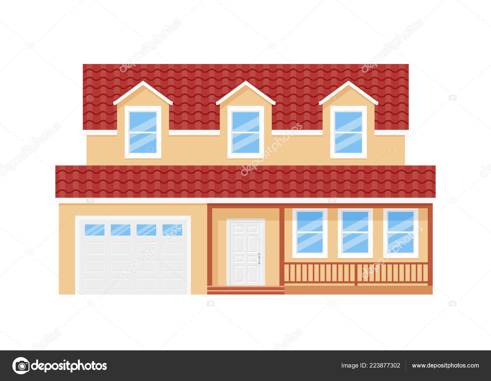 Design Of Houses Front View House Facade Vector Home Exterior Front View Building Door Roof Stock Vector C Maradaisy 223877302