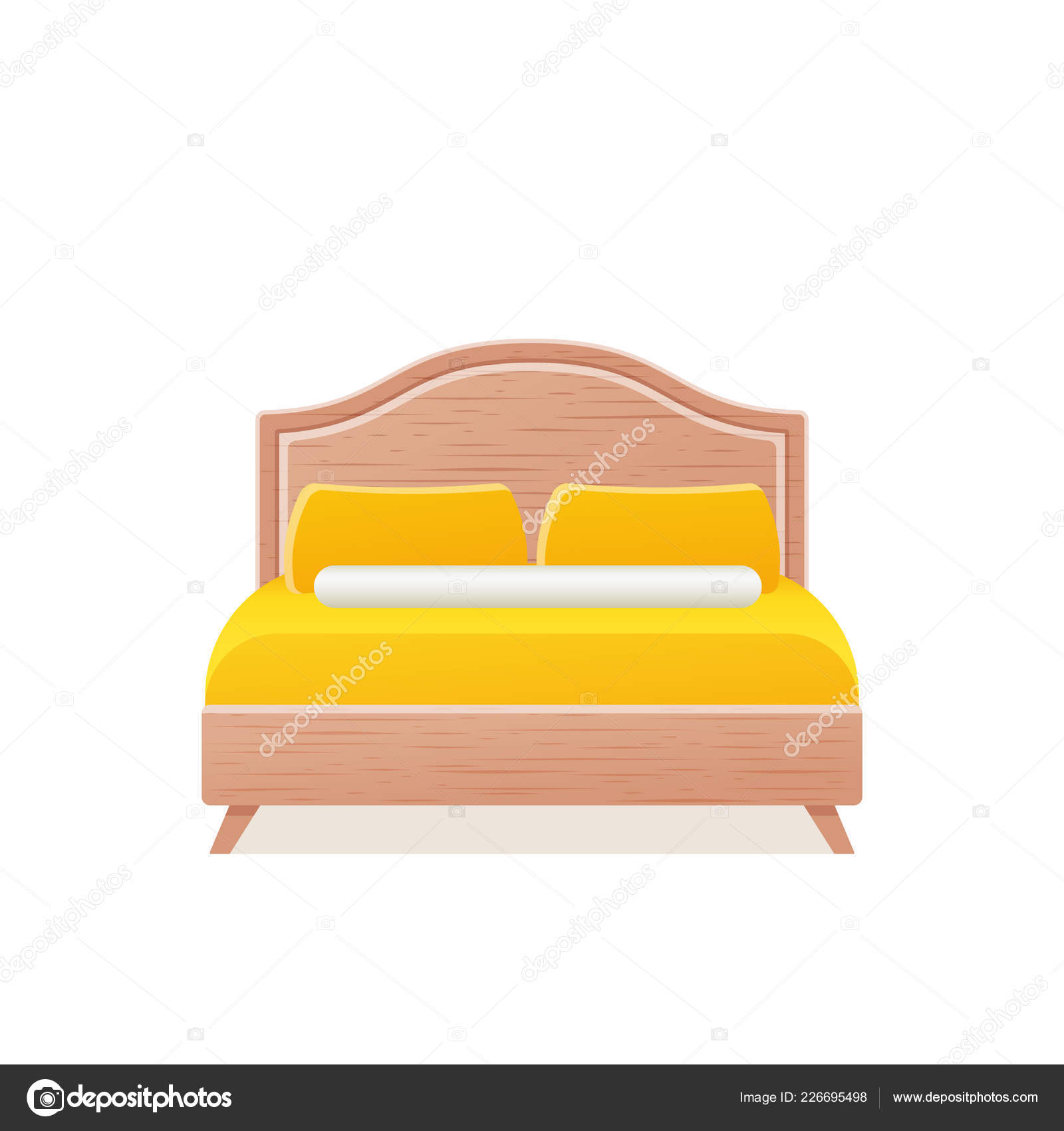 Bed Vector Double Wooden Bed Flat Design Bedroom Hotel Room Stock