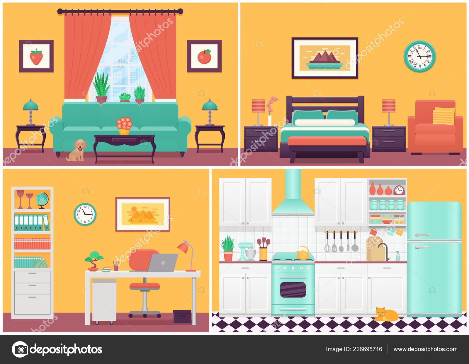 Interiores Habitación Vector Sala Estar Dormitorio Cocina ...