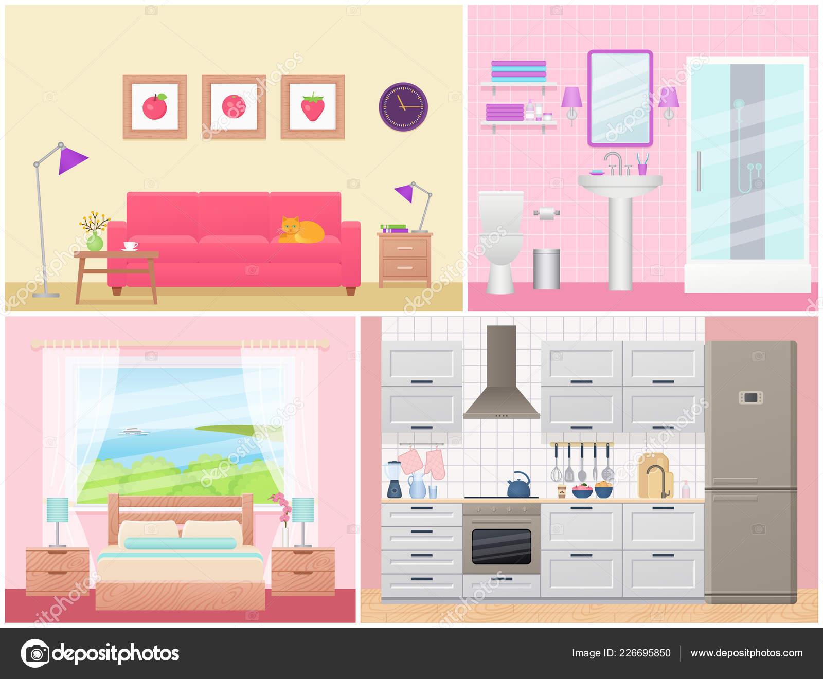 Interiores Habitación Vector Sala Estar Dormitorio Cuarto ...