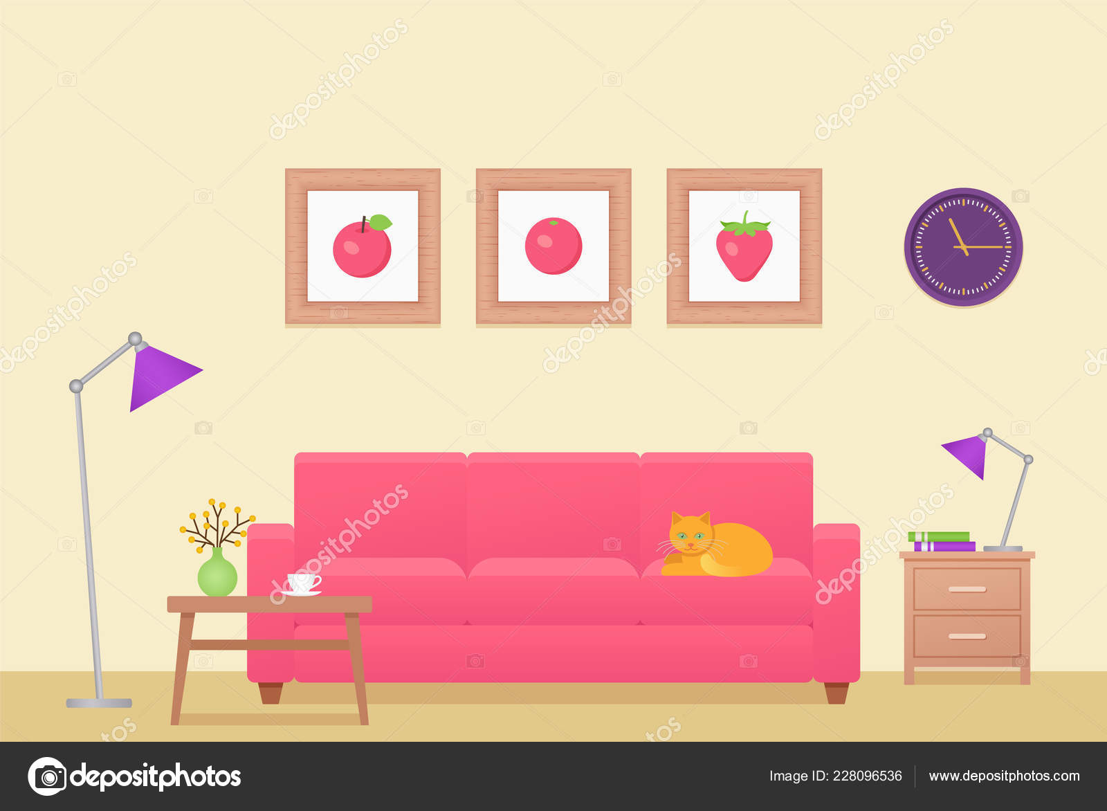 Room Interior Vector Living Room Lounge Furniture Home