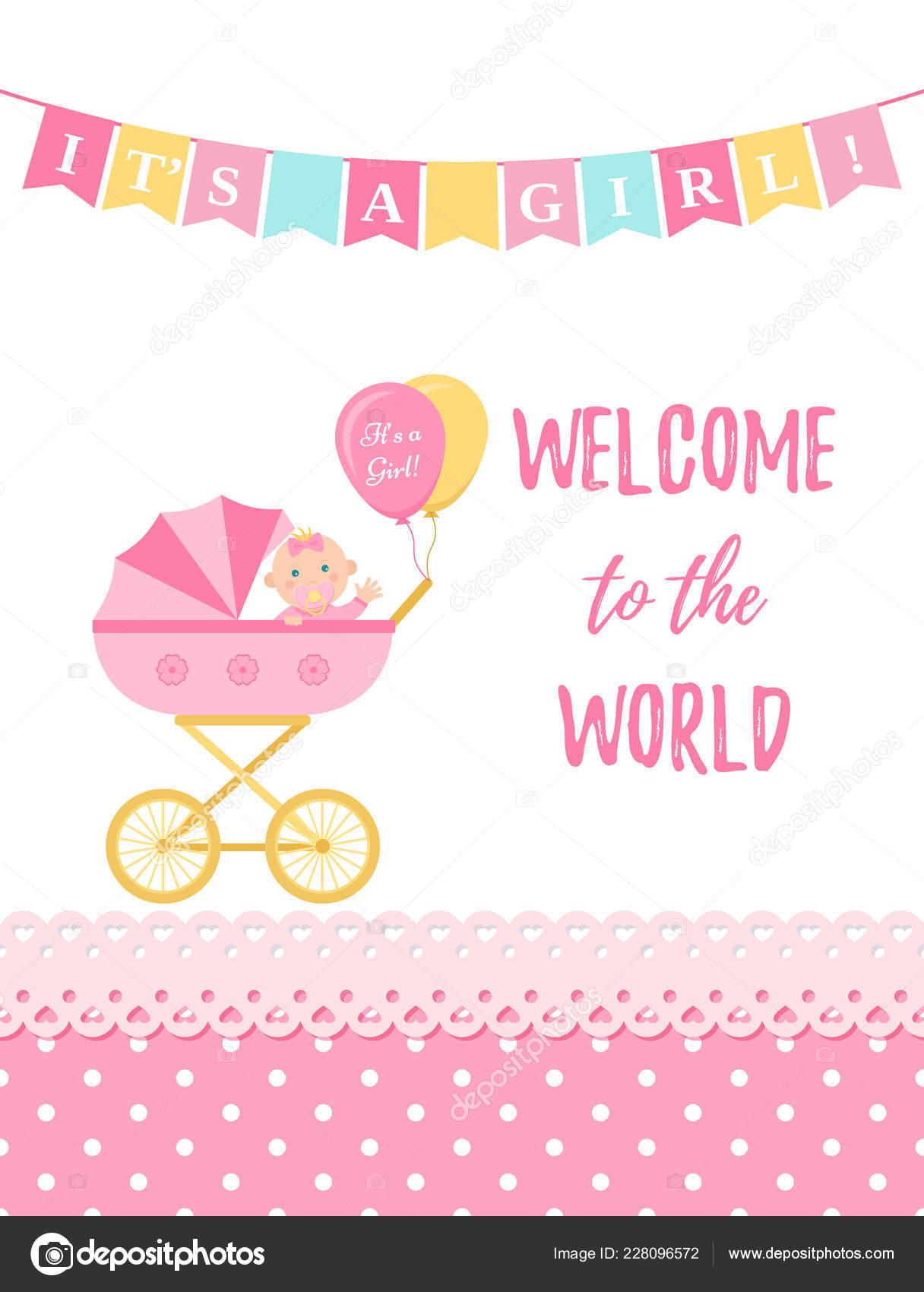 Carte Fille Bébé Douche Vector Conception Bébé Fille Bannière Rose