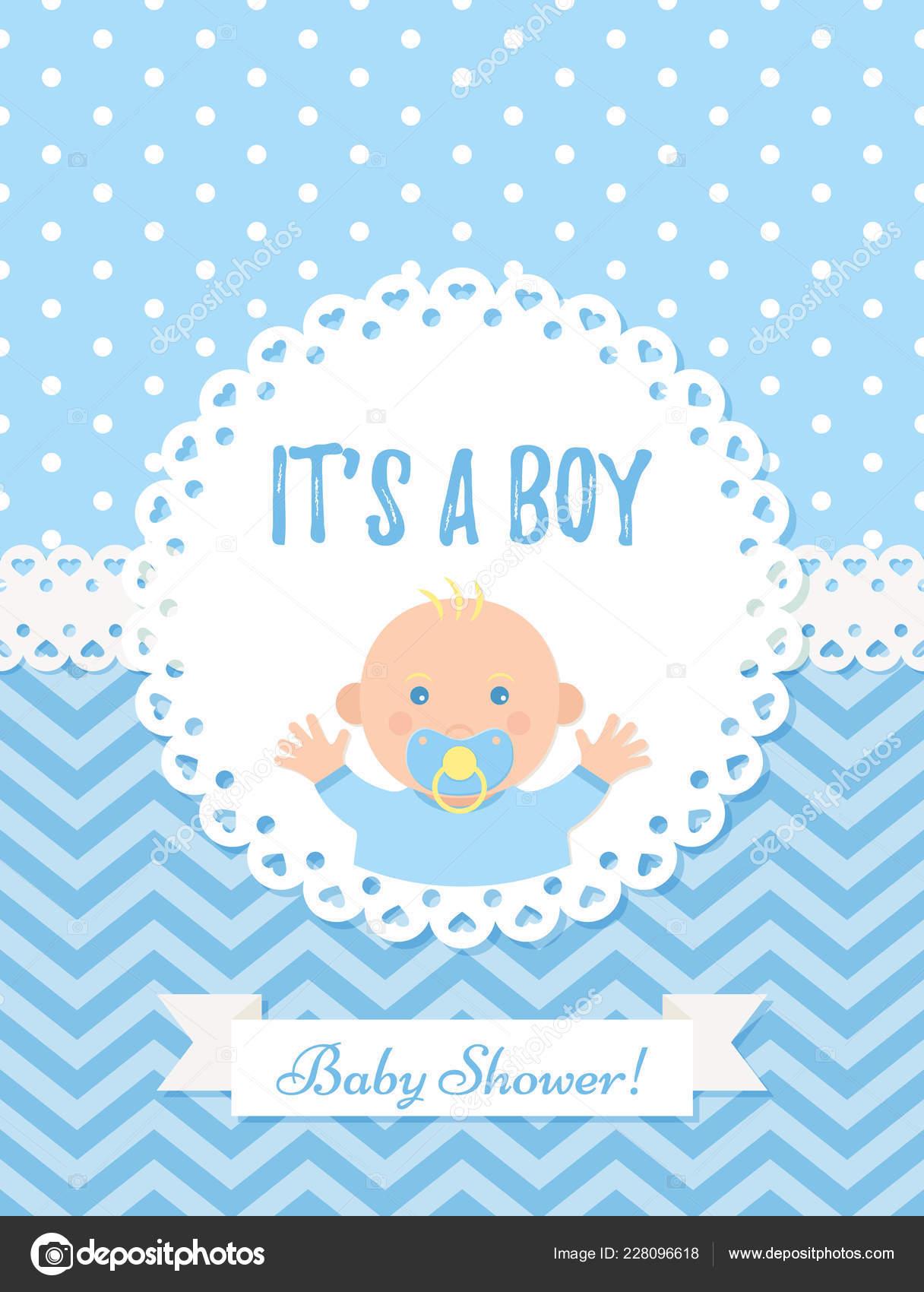 51aa0e01506c5 Tarjeta de Baby boy. Diseño del vector Baby Shower niño. Linda bandera  azul. Fondo de la partido de nacimiento. Cartel de feliz felicitación.