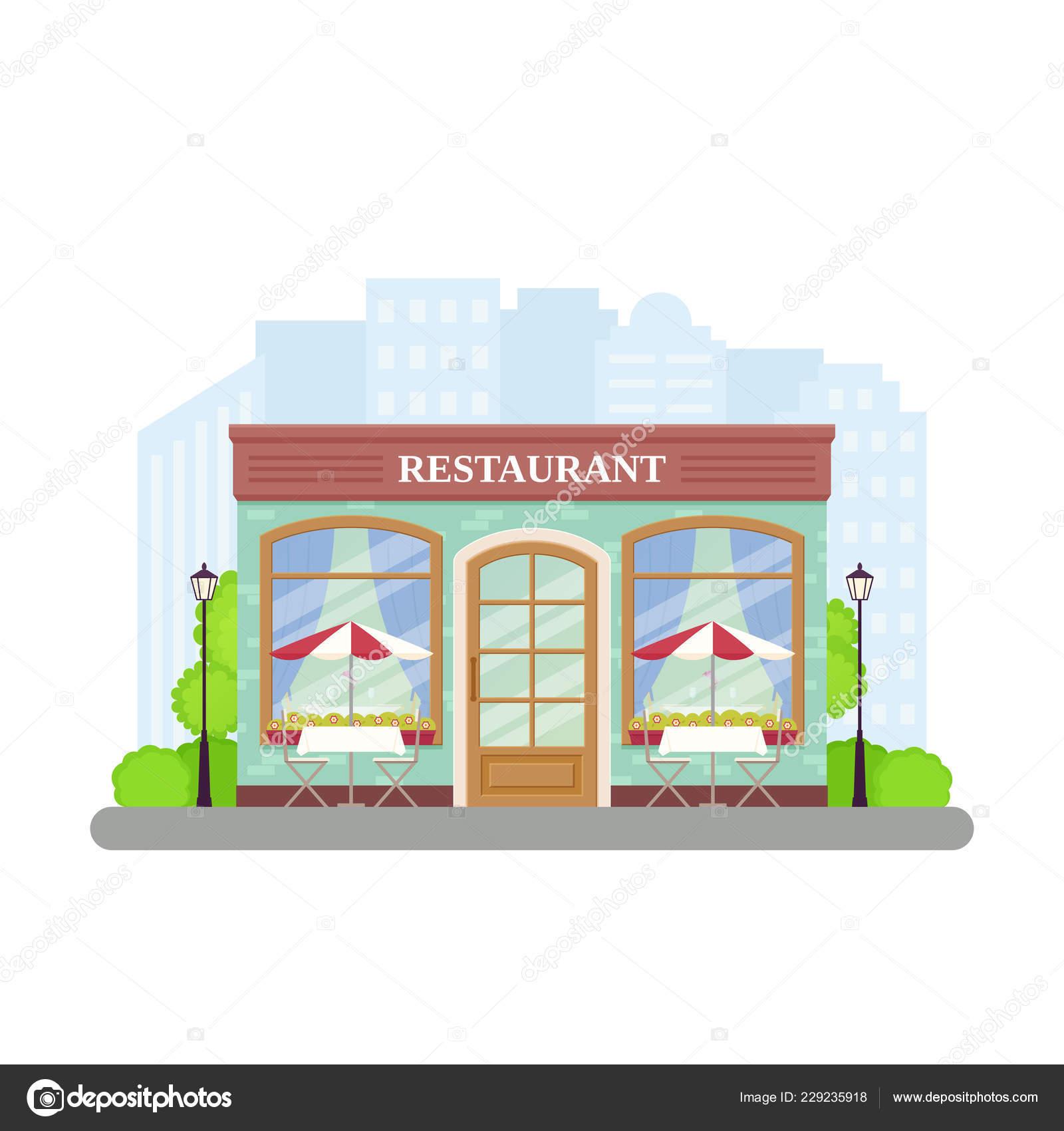 Restaurant Vector Street Cafe Shop Building Facade Storefront Vintage Store Stock Vector C Maradaisy 229235918