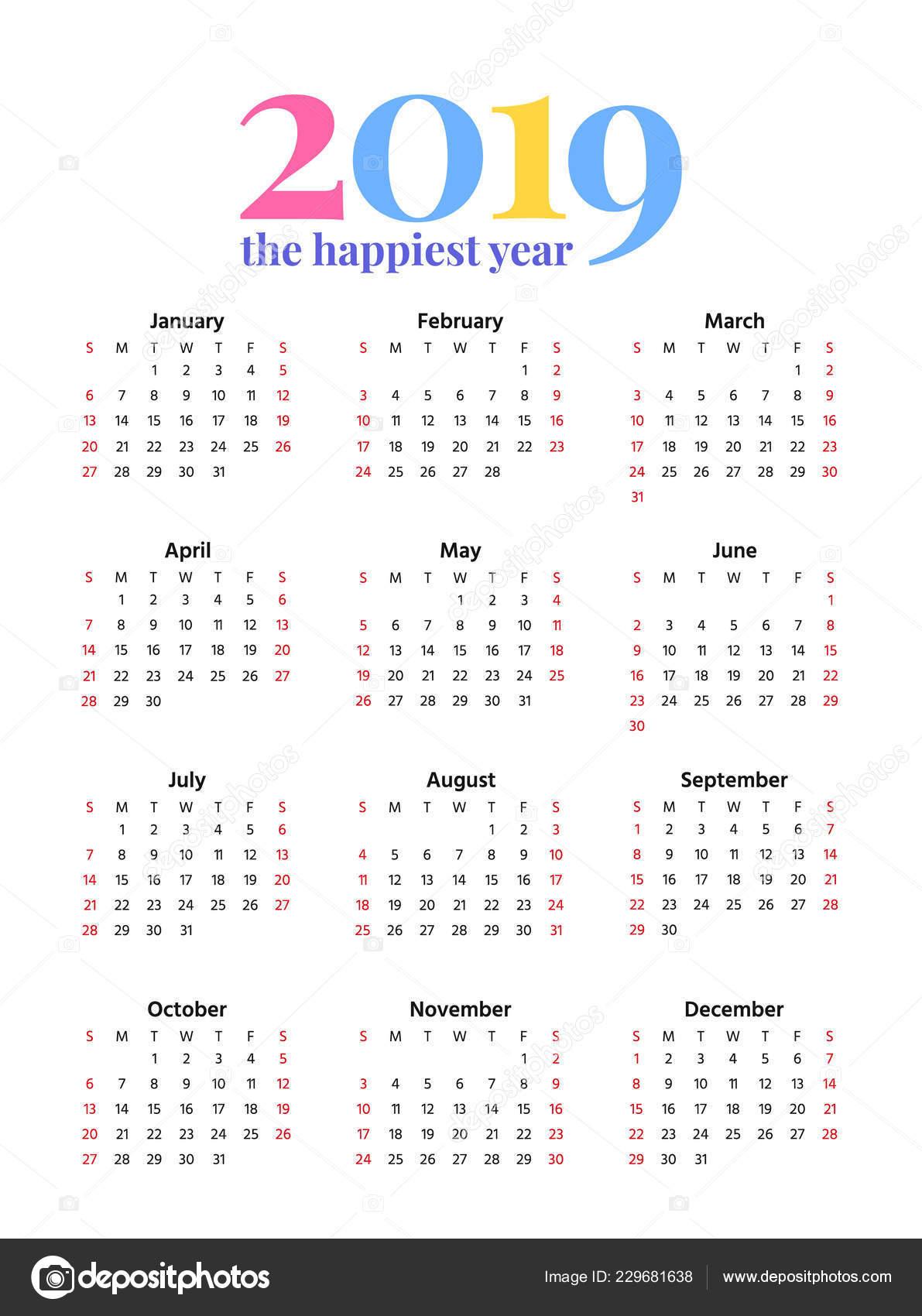 Template Calendrier 2019.2019 Calendar Vector Stationery 2019 Year Vertical Pocket