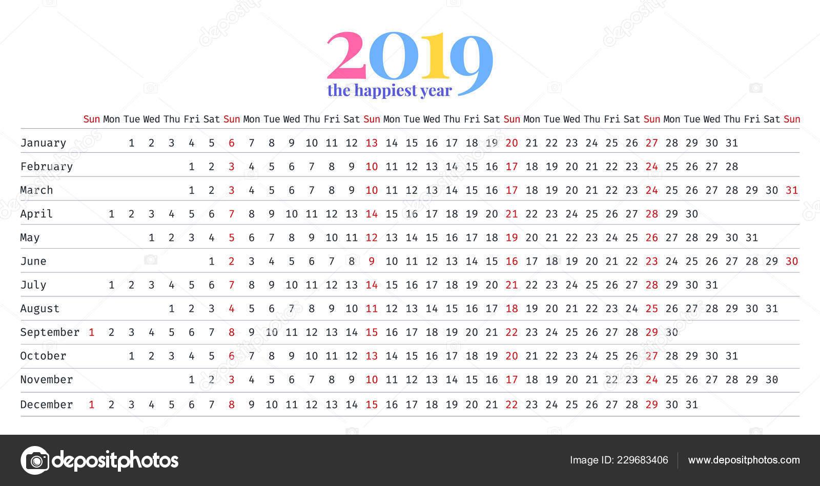 Calendario Lineal.Diseno Lineal Del Calendario 2019 Vector Plantilla Efectos
