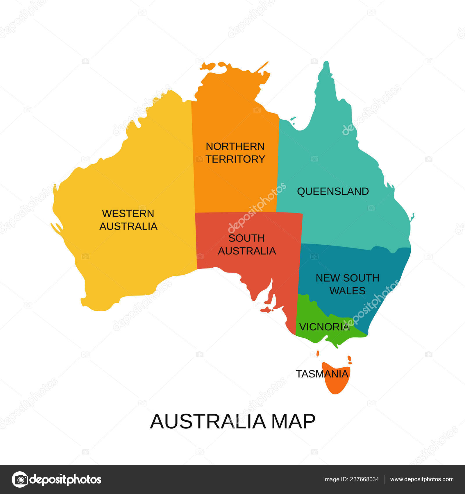 Map Of South Australia And Northern Territory.Australia Map Regions Vector Australian State Western South