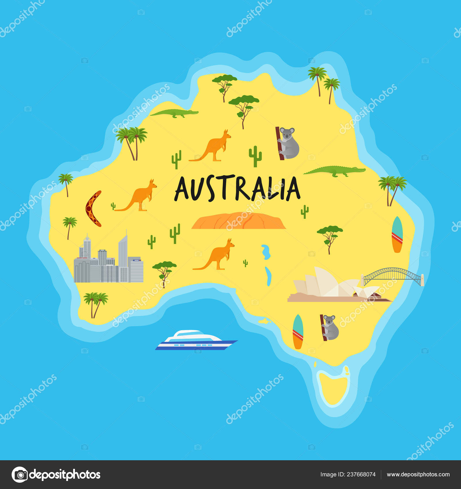 Australia Cartoon Map Vector Australian State Travel Icons ...