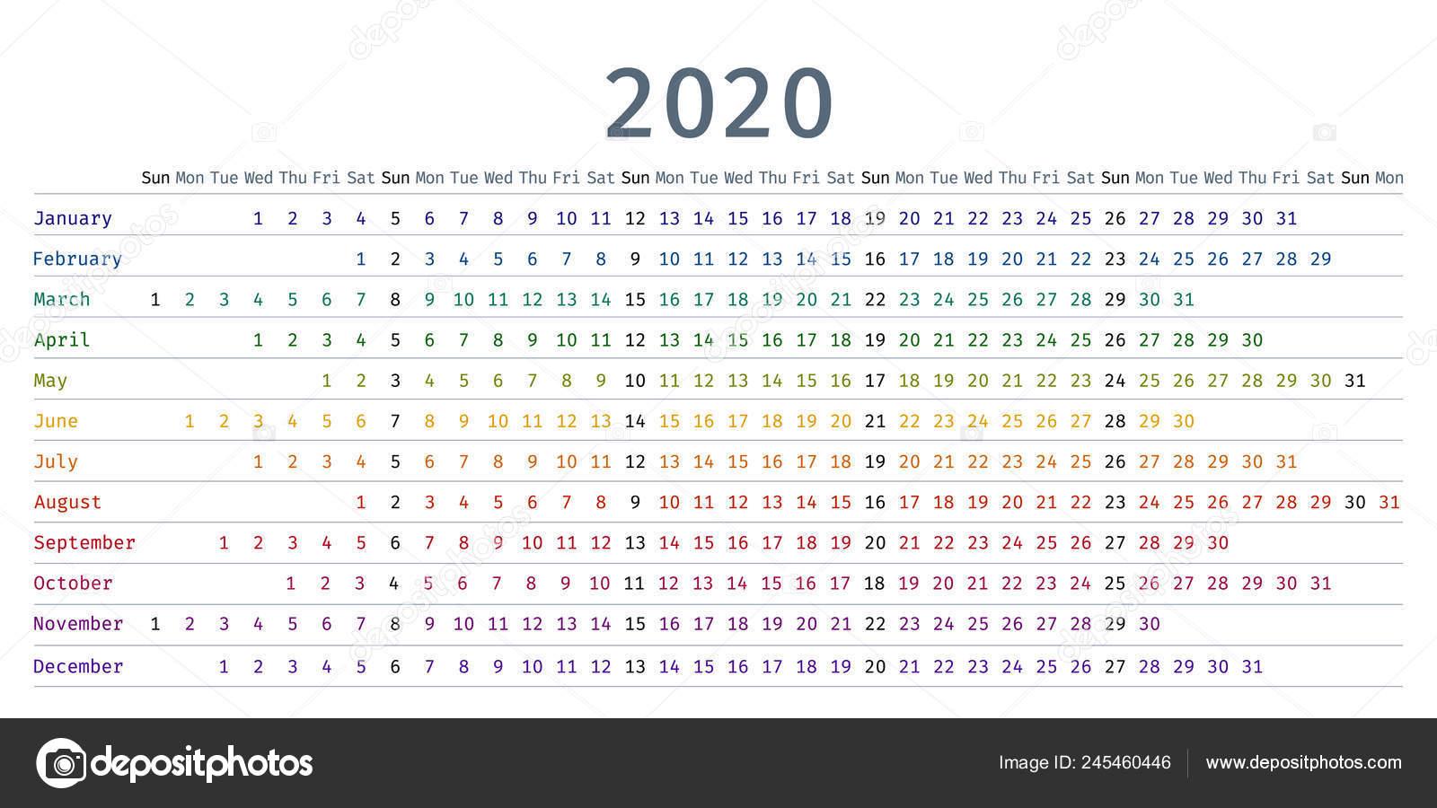 Horizontal Calendar 2020 2020 Calendar Linear Vector Yearly Calendar Organizer Stationery
