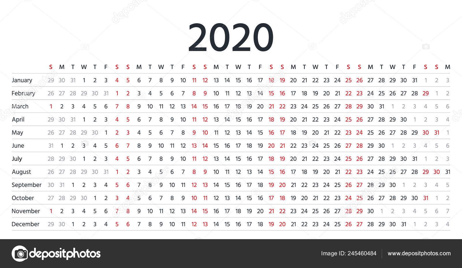 Calendario 2020 Con Foto.2020 Calendario Lineal Vector Organizador Anual Calendario
