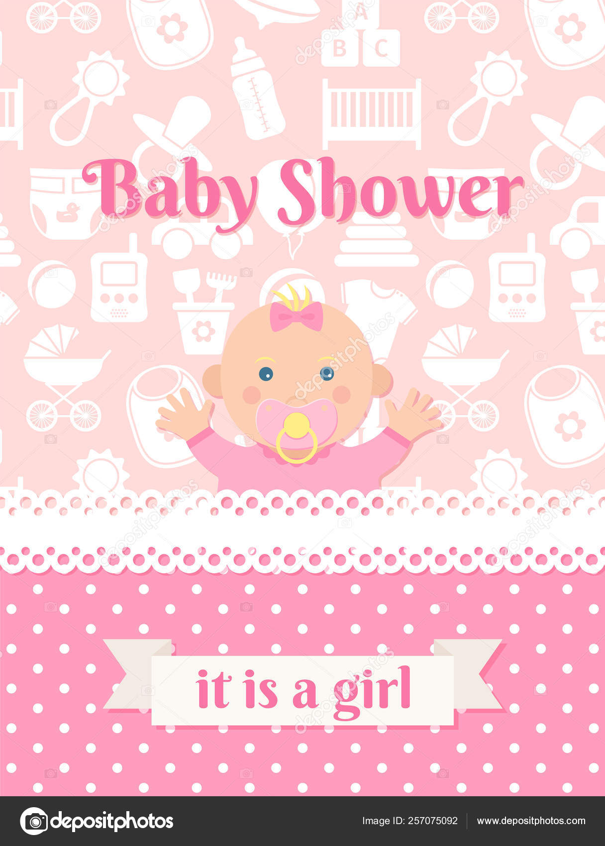 Baby Shower Card Design Vector Illustration Birthday Party
