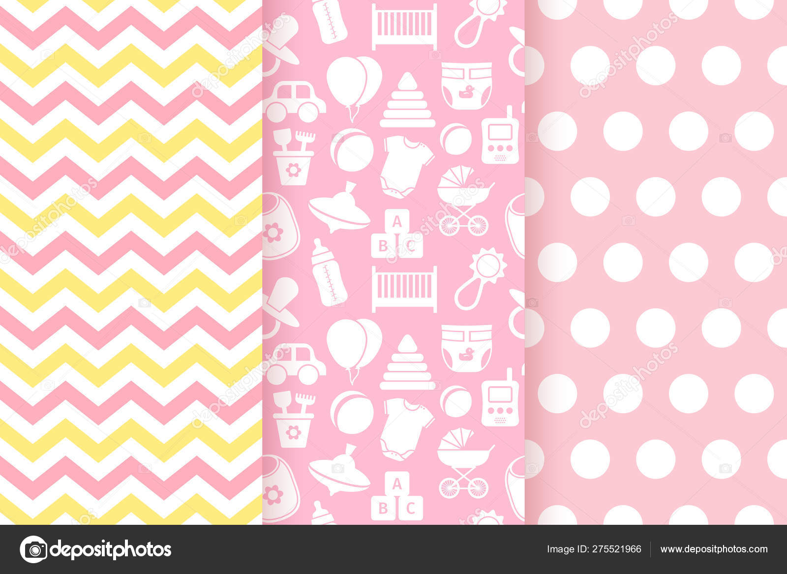 Baby Shower Seamless Patterns For Baby Girl Vector Illustration Stock Vector C Maradaisy 275521966