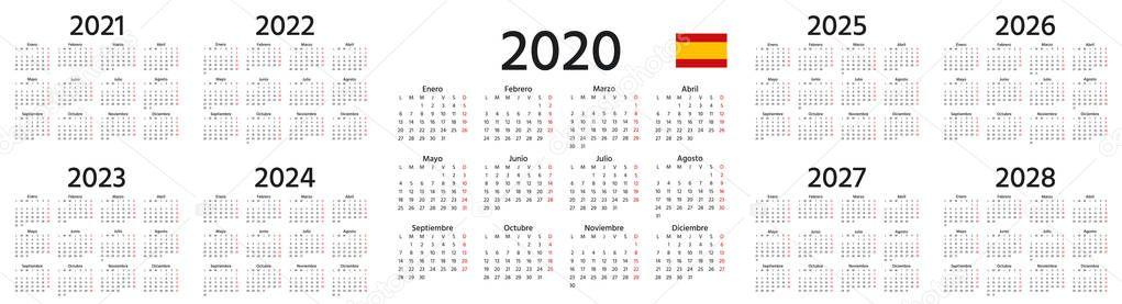 Spanish Calendar 2022.Spanish Calendar 2020 2021 2022 2023 2024 2025 2026 2027 2028 Years Vector Week Starts Monday Spain Calender Template Yearly Organizer In Minimal Design Landscape Orientation Premium Vector In Adobe Illustrator Ai Ai Format