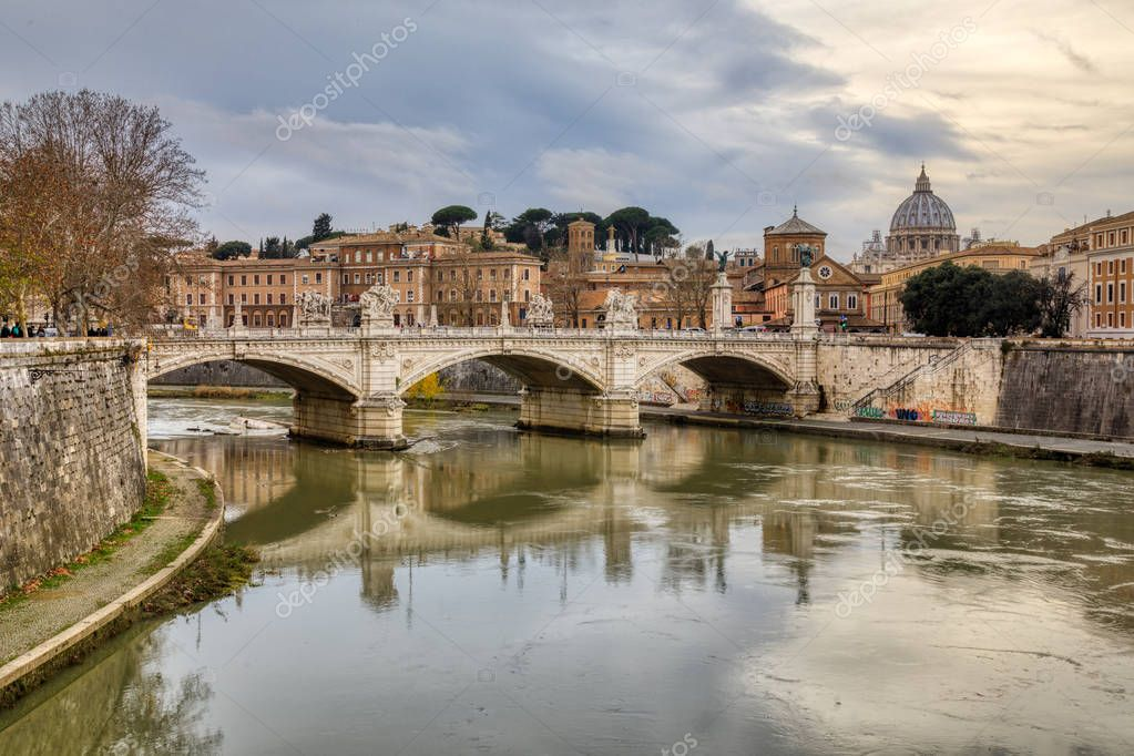 Sunset View of St Speter's Basilica, River Tiber, Rome, Italy
