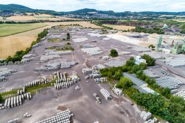 Koblenz, Germany 21.07.2018 Aerial view of factory for Blocks of concrete stones Building materials industry