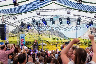 Koblenz Germany 26.09.2018 crowd cheers on German singer mickie krause during Oktoberfest party traditional music