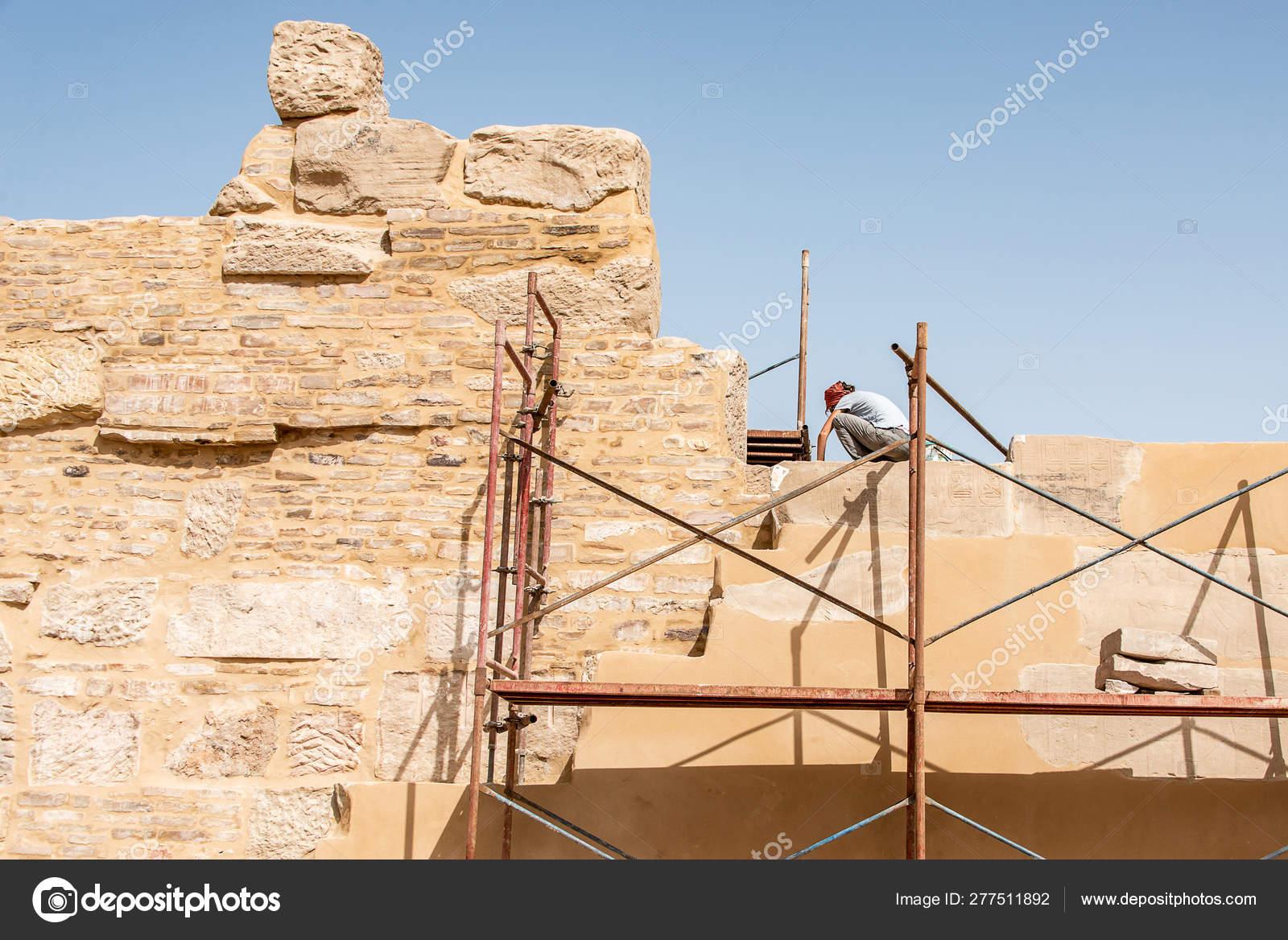 Luxor Egypt 23 05 2018 archaeologist working restoring