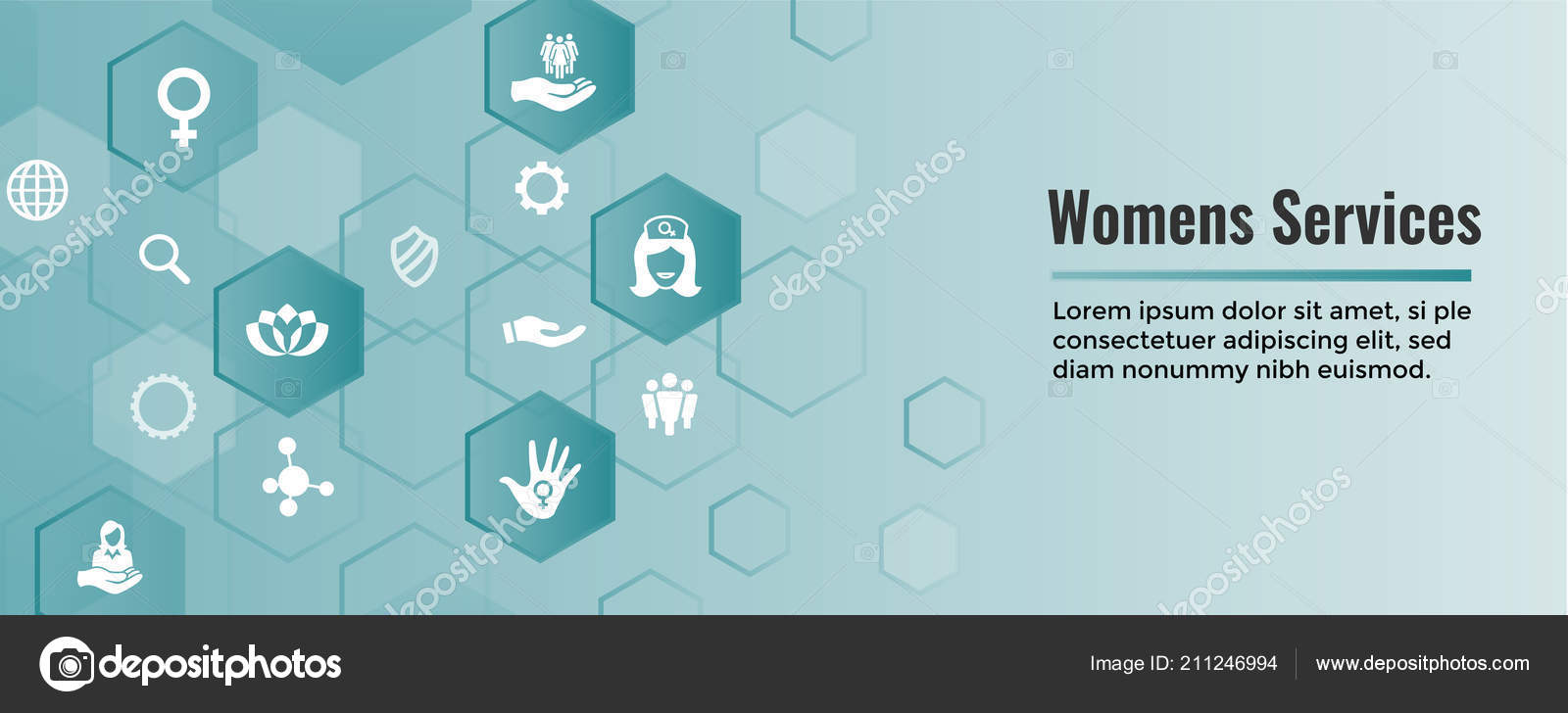 Women Services Icon Set Web Header Banner Female Symbol Stock