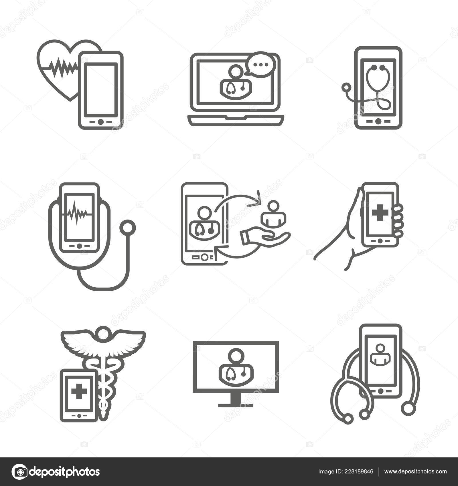 Telemedicine Abstract Idea Icons Illustrating Remote Health Software