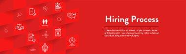 New Employee Hiring Process icon set - Web Header Banner