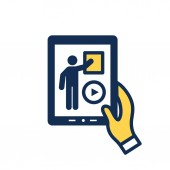 Fotografie Video teaching and training - informational video icon / video b