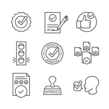 Approval and Signature Icon Set - Stamp and version icons