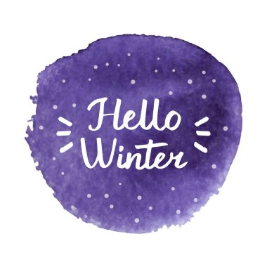Hello Winter hand drawn brush lettering