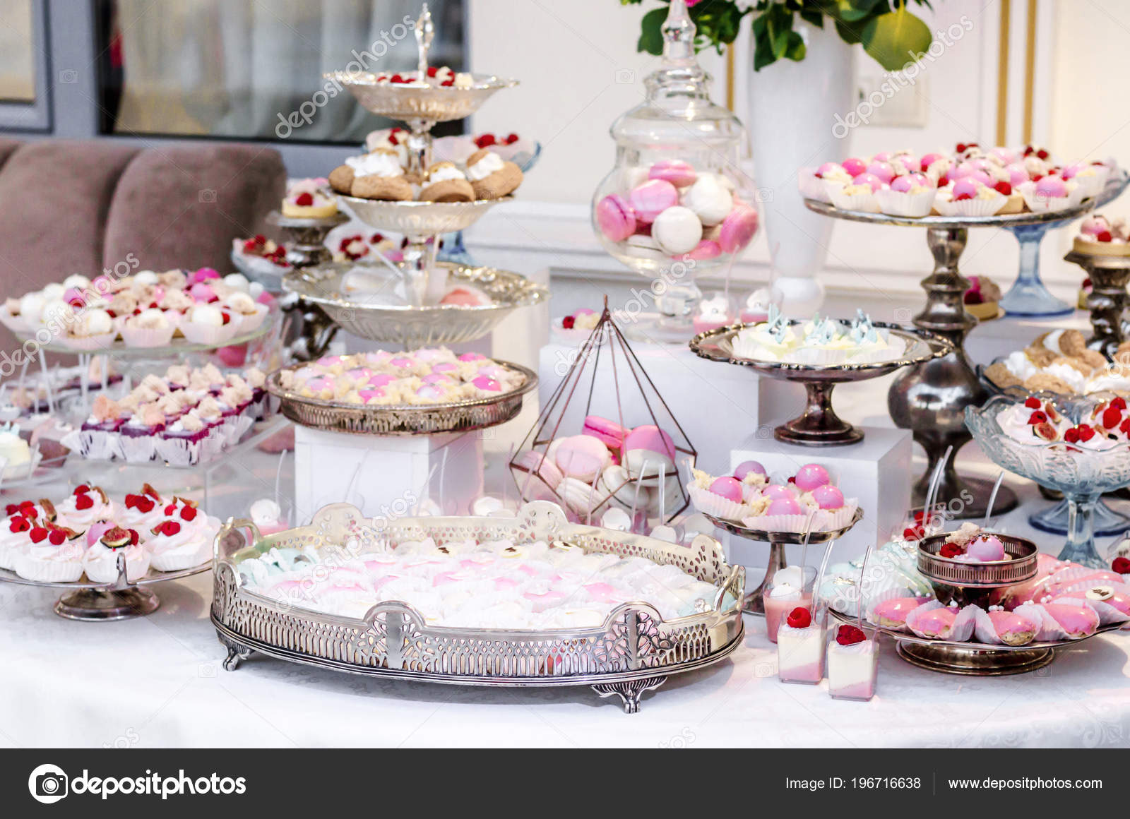 Delicious Wedding Reception Candy Bar Dessert Table Full Cakes