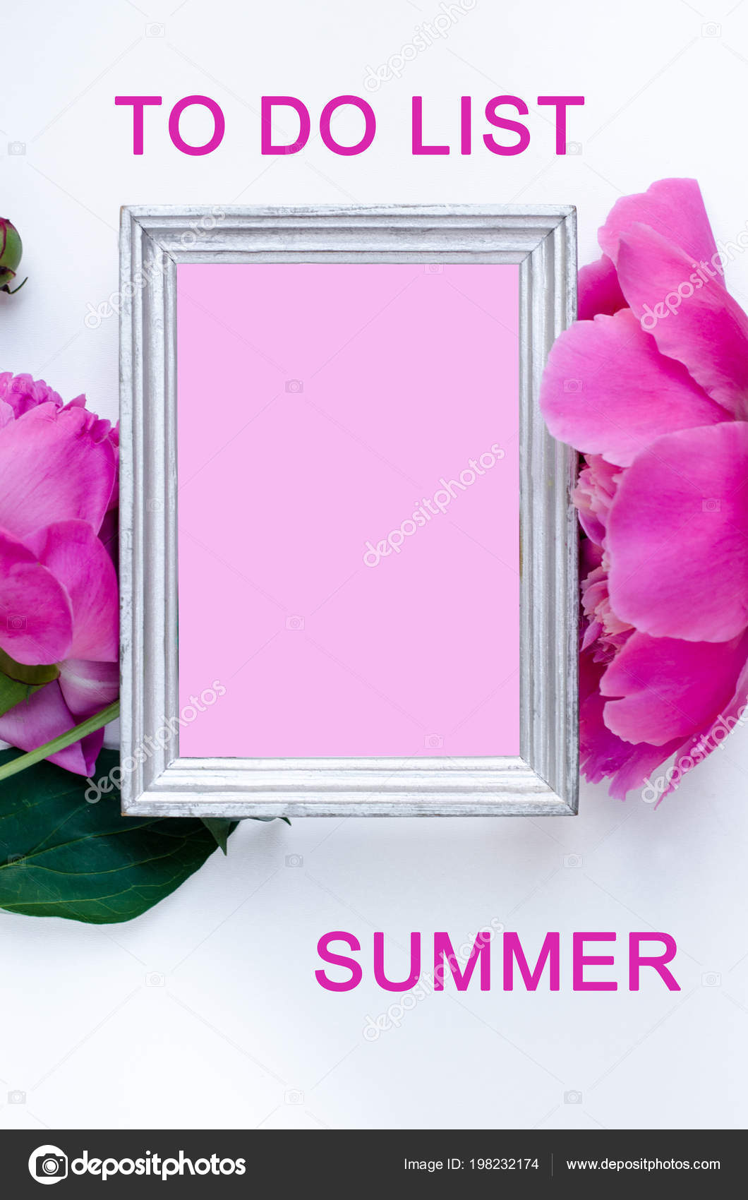 List peony flower frame flat lay nature concept white background to do list peony flower in frame flat lay nature concept on white background with copy space for greeting message creative layout mothers day and spring mightylinksfo