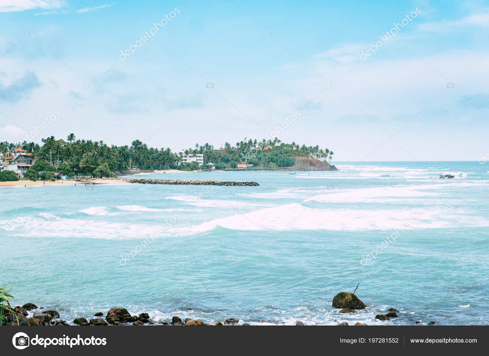 Beautiful Tropical Island Beach Landscape Fishing Boat In Transparent Blue Ocean Fresh Green Palm Trees Travel And Tourism Concept Photo By Cendeced
