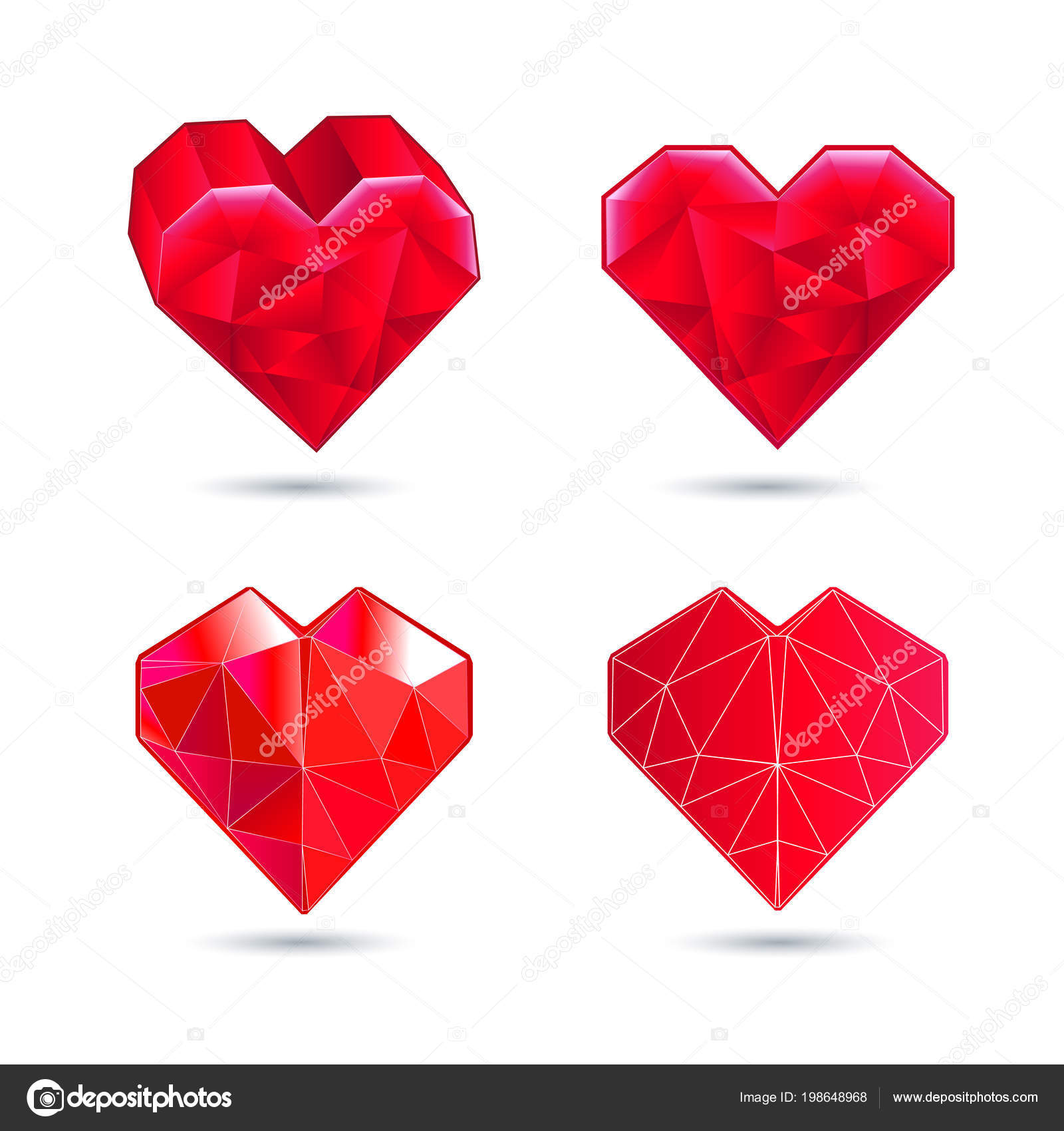 Vector Hearts Set Color Icon Red Heart In The Form