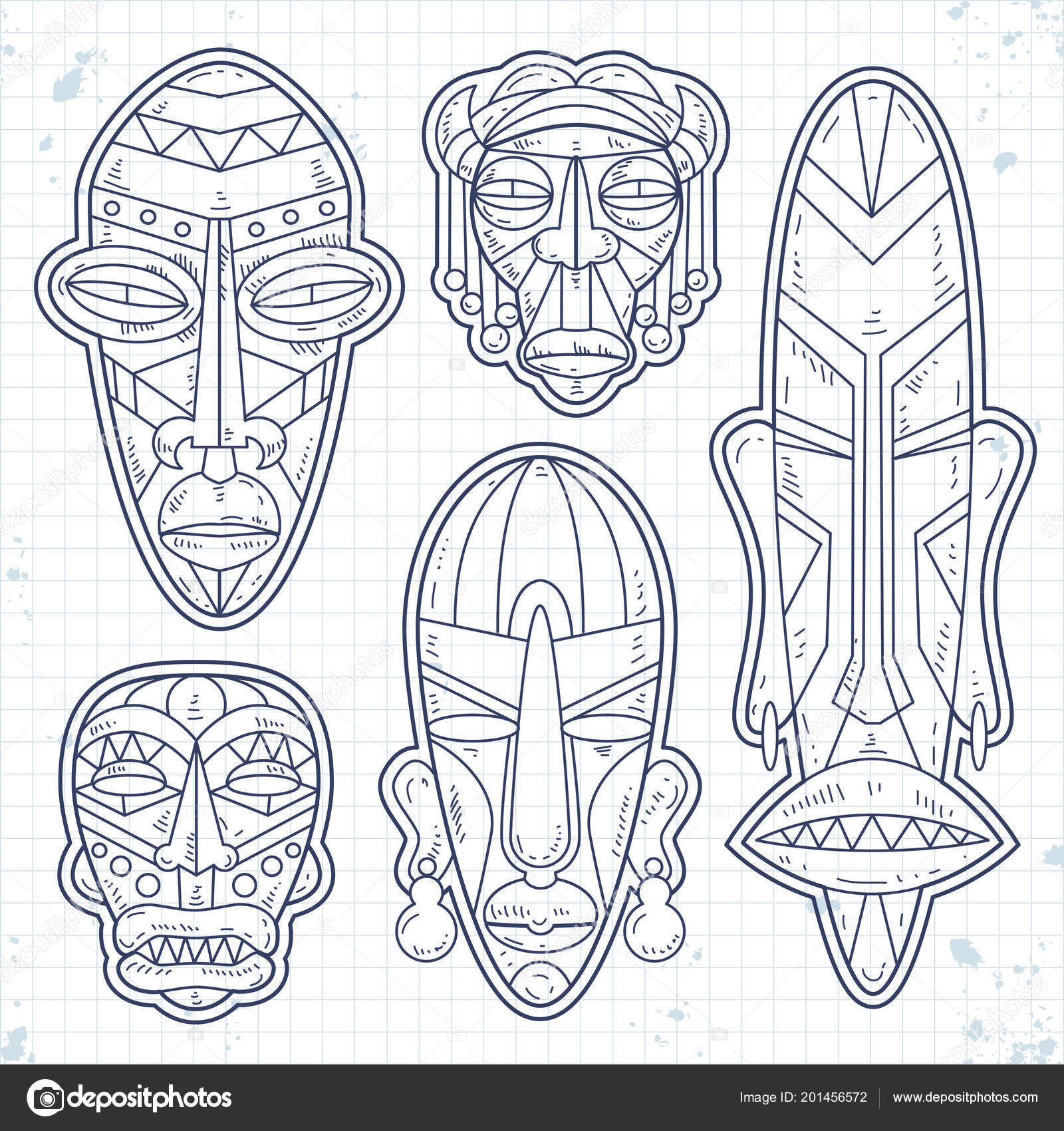 Vector Sketch Icons Set Of African Ethnic Tribal Mask Ritual