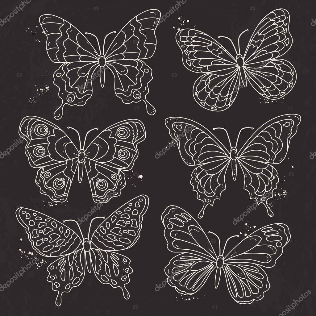 Illustrazione Vettoriale Sagoma Bianca Imposta Varie Farfalle