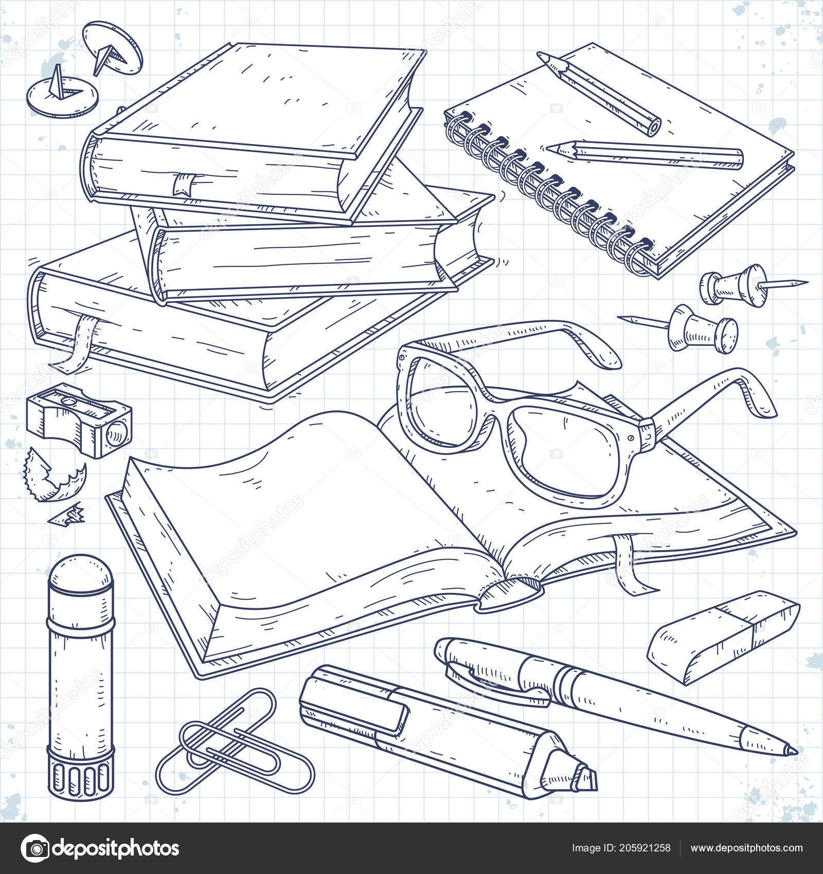 Vector illustration sketch icons set stationery for school and student a stack of books an open book with glasses a notebook on a spring