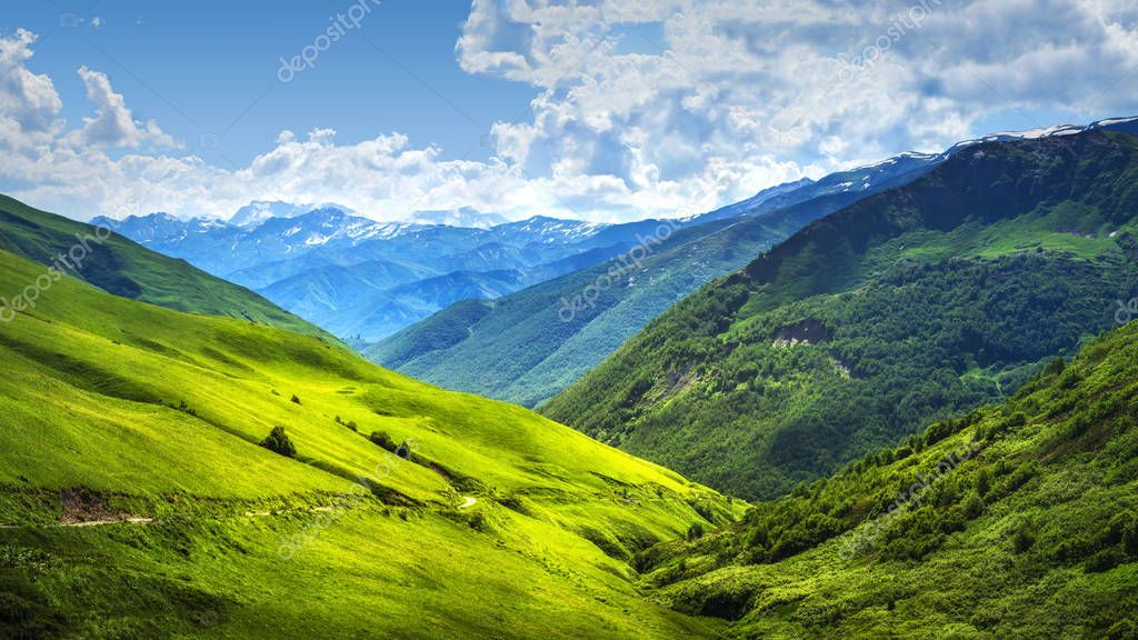 Alpine mountain landscape. Svaneti mountains ranges. Green grassy hills in Georgian highlands on sunny bright day. Amazing view on scenery wonderful vibrant nature. Beautiful day in Caucasus valley.